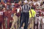 Arkansas coach Bret Bielema yells at referee Matt Loeffler during a game against Alabama on Saturday, Oct. 8, 2016, in Fayetteville.