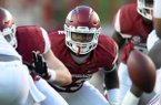 Arkansas linebacker Dre Greenlaw prepares for a snap during a game against Alabama on Saturday, Oct. 8, 2016, in Fayetteville.