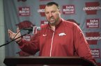 NWA Democrat-Gazette/J.T. WAMPLER Arkansas football head coach Bret Bielema talks Sunday Dec. 6, 2015 about the Razorbacks' invitation to attend the Liberty Bowl in Memphis playing against Kansas State. The hogs won five of their last six games to become bowl eligible.