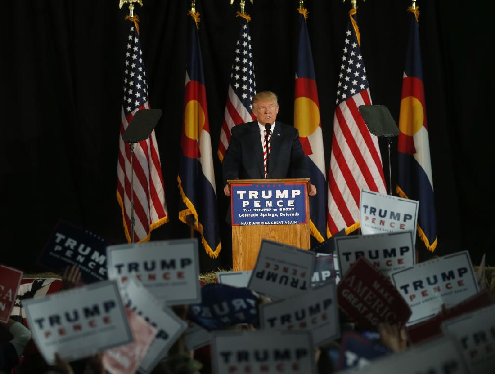 Speaking Tuesday at a rally in Colorado Springs, Colo., Donald ...