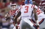 Arkansas quarterback Austin Allen throws a pass during a game against Ole Miss on Saturday, Oct. 15, 2016, in Fayetteville.