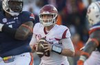 Arkansas quarterback Austin Allen looks to pass during a game against Auburn on Saturday, Oct. 22, 2016, in Auburn, Ala.