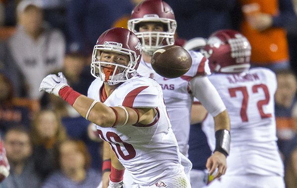 Arkansas receiver Drew Morgan watches a ball go past him during a game against Auburn on Saturday, Oct. 22, 2016, in Auburn, Ala.