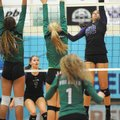 Haley Warner (32) of Fayetteville sends the ball past Mikelle Porter of Van Buren on Wednesday durin...