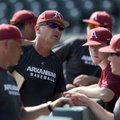 Arkansas coach Dave Van Horn speaks to his players Friday, Sept. 9, 2016, during practice at Baum St...