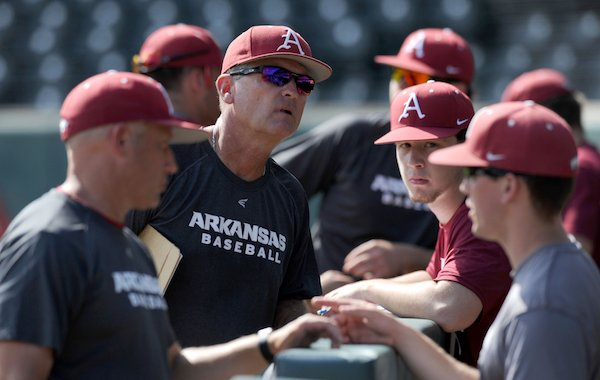 Arkansas coach Dave Van Horn speaks to his players Friday, Sept. 9, 2016, during practice at Baum Stadium in Fayetteville.
