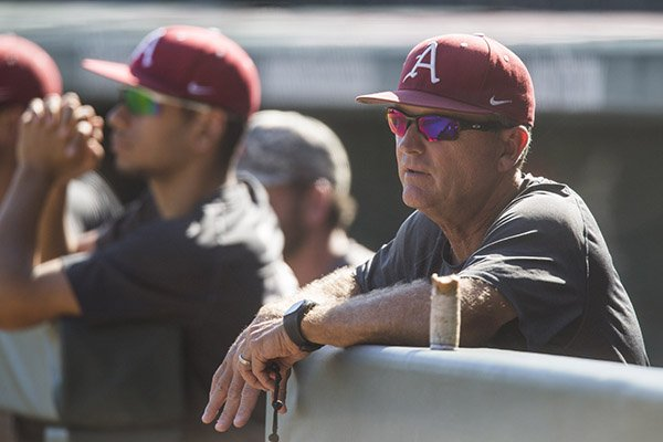 Arkansas coach Dave Van Horn watches practice on Monday, Oct. 17, 2016, at Baum Stadium in Fayetteville.