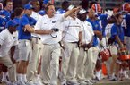 Florida head coach Jim McElwain coaches from the sideline during the second half of an NCAA football game against Georgia, Saturday, Oct. 29, 2016, in Jacksonville, Fla. Florida beat Georgia 24-10. (AP Photo/Stephen B. Morton)