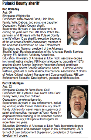 Pulaski County sheriff candidate biographies.