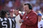 Arkansas coach Bret Bielema argues with an official during a game against Florida on Saturday, Nov. 5, 2016, in Fayetteville.