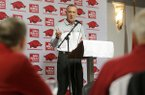 Arkansas coach Jimmy Dykes speaks to fans during a luncheon Monday, Nov. 7, 2016, at Mermaid's in Fayetteville.