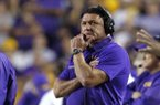 LSU interim head coach Ed Orgeron works the sideline in the second half of an NCAA college football game against Alabama in Baton Rouge, La., Saturday, Nov. 5, 2016. Alabama won 10-0.