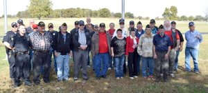 Photo by Mike Eckels This group of veterans were on hand to help celebrate the first annual Veterans Day celebration at Veterans Park in Decatur Nov. 4. The veterans assembled here span five wars, including World War II, Korea, Vietnam, Desert Storm and Iraqi Freedom.