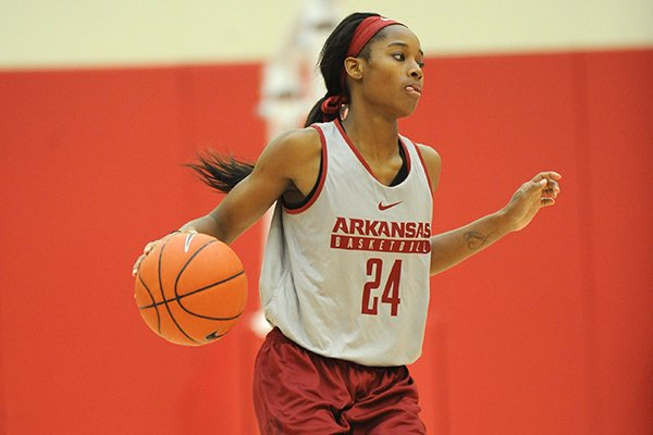 Arkansas guard Jordan Danberry drives with the ball Wednesday, Oct. 12, 2016, in the basketball practice facility on the university campus in Fayetteville.