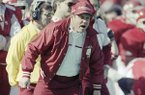 University of Arkansas head coach Ken Hatfield hollers at his team during the first quarter of Monday's Cotton Bowl game in Dallas, Jan. 1, 1990 against the Tennessee Volunteers. (AP Photo/David Sams)
