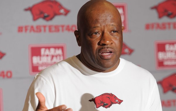 Arkansas coach Mike Anderson speaks Wednesday, Oct. 5, 2016, during Media Day in Bud Walton Arena.
