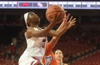 Arkansas' Malica Monk goes up for a layup during a game against Sam Houston State on Friday, Nov. 11, 2016, in Fayetteville.
