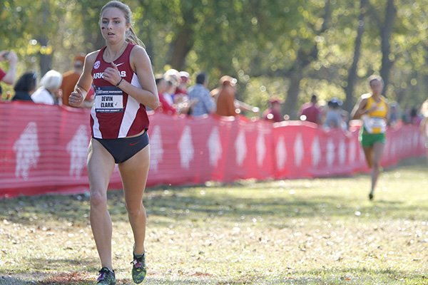 Arkansas sophomore Devin Clark nears the finish line during the NCAA South Central Regional on Friday, Nov. 11, 2016, in Fayetteville.