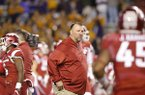 Arkansas coach Bret Bielema watches warmups prior to a game against LSU on Saturday, Nov. 12, 2016, in Fayetteville.
