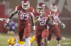 Arkansas running back Devwah Whaley carries the ball during a game against LSU on Saturday, Nov. 12, 2016, in Fayetteville.