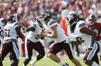Mississippi State quarterback Nick Fitzgerald runs the ball against Alabama during the first half of an NCAA college football game, Saturday, Nov. 12, 2016, in Tuscaloosa, Ala. (AP Photo/Brynn Anderson)