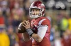 Arkansas quarterback Austin Allen looks to pass during a game against LSU on Saturday, Nov. 12, 2016, in Fayetteville.