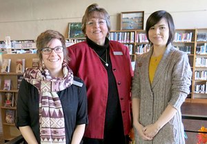 Karen Benson (center), of Gravette, was recently chosen as interim supervisor at the Gravette Public Library. She is shown here with new library staff member Brittany Shreve and long-time employee Artemis Edmisten. Benson, who is working on a degree in journalism, had high praise for her staff and said she is excited about the new job and enjoying meeting the patrons. She invites all in the area to come in, get acquainted and learn about services the library offers.