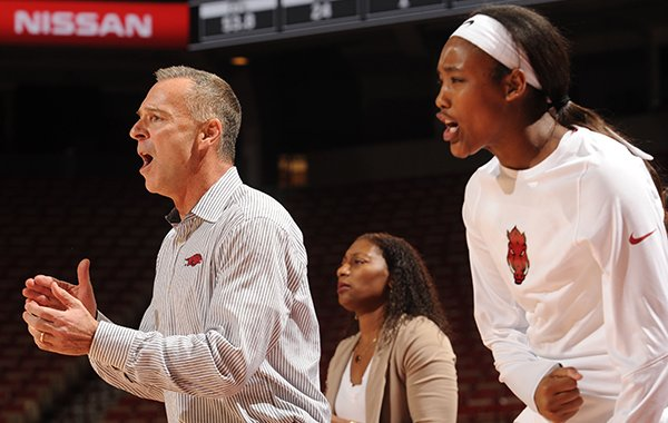 Arkansas coach Jimmy Dykes celebrates against South Dakota Thursday, Nov. 17, 2016, during the second half of play in Bud Walton Arena in Fayetteville.