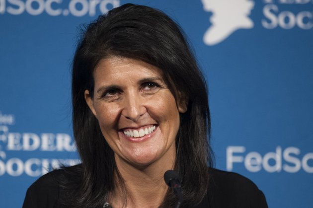 in-this-friday-nov-18-2016-photo-south-carolina-gov-nikki-haley-smiles-while-speaking-at-the-federalist-societys-national-lawyers-convention-in-washington