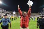 9/10/16 Arkansas Democrat-Gazette/STEPHEN B. THORNTON Arkansas' coach Bret Bielema celebrates their OT victory over TCU Saturday September 10, 2016 at Amon G. Carter Stadium in Ft. Worth.