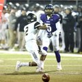 Fayetteville's Trey Coulter (5) pressures Bentonville receiver Kam'ron Mays-Hunt on Friday in the Cl...