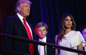 The Associated Press LONG-DISTANCE FIRST LADY: President-elect Donald Trump, left, arrives to speak at an election night rally with his son Barron and wife Melania on Nov. 9 in New York. Breaking with tradition, the president-elect will move into the White House after the inauguration while his wife Melania and 10-year-old son Barron plan to remain in New York City until at least the end of the school year.