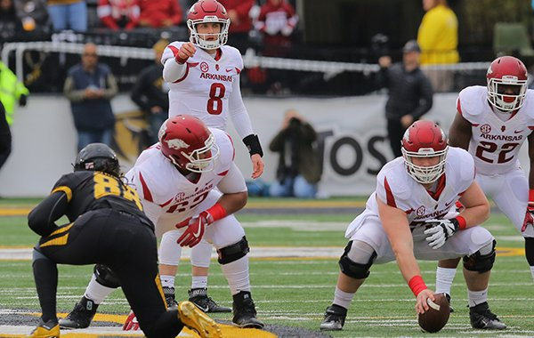 Arkansas quarterback Austin Allen waits for a snap during a game against Missouri on Friday, Nov. 25, 2016, in Columbia, Mo.