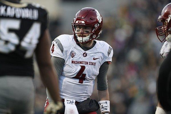 Washington State Cougars quarterback Luke Falk (4) in the second half of an NCAA college football game Saturday, Nov. 19, 2016, in Boulder, Colo. Colorado won 38-24. (AP Photo/David Zalubowski)