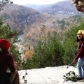 Thao Nguyen (right) and Karen Mowry take in views of the Buffalo National River from the Goat Trail....