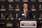 Clemson defensive coordinator Brent Venables speaks during the Broyles Award award presentation on Tuesday, Dec. 6, 2016, in Little Rock.