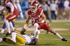 Arkansas kick returner Deon Stewart (13) is tackled during a game against LSU on Saturday, Nov. 12, 2016, in Fayetteville.