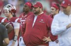 Arkansas offensive line coach Kurt Anderson watches warmups prior to a game against LSU on Saturday, Nov. 12, 2016, in Fayetteville.