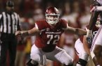 Arkansas' Frank Ragnow (72) sets up during the fourth quarter of an NCAA college football game against Alabama Saturday, Oct. 8, 2016 in Fayetteville, Ark. Alabama won 49-30. (AP Photo/Samantha Baker)