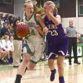 Fiona Wilson (24) of Greenland drives to the basket as Elkins' Kenadie Kestner (23) defends Tuesday ...