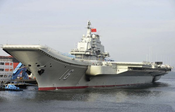 Taiwan monitoring China's first aircraft carrier drill