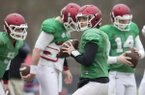Arkansas quarterback Austin Allen goes through practice at Charlotte Latin High School on Monday, Dec. 26, 2016, in Charlotte, N.C.