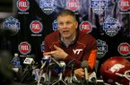 Virginia Tech coach Justin Fuente answers questions during Belk Bowl Media Day on Wednesday, Dec. 28, 2016, at BB&T Ballpark in Charlotte, N.C.