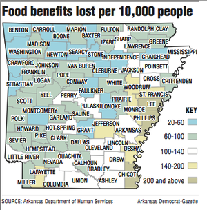 A map showing food stamp information.