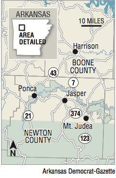 Map showing the location of Ponca, Arkansas