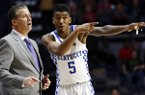 Kentucky head coach John Calipari listens to guard Malik Monk (5) in the second half of the NCAA college basketball game in Oxford, Miss., Thursday, Dec. 29, 2016. No. 8 Kentucky won 99-76. (AP Photo/Rogelio V. Solis)