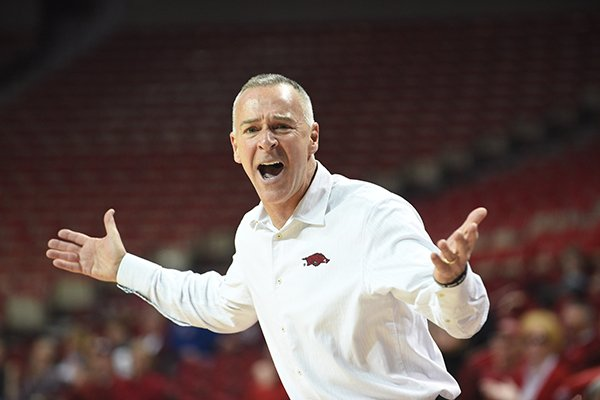 Arkansas coach Jimmy Dykes reacts to a call during a game against Mississippi State on Thursday, Jan. 5, 2017, in Fayetteville.
