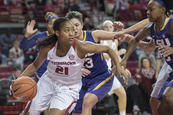 Arkansas' Devin Cosper looks for rom against LSU Sunday Jan. 8, 2017 at Bud Walton Arena in Fayetteville. The Lady Razorbacks lost to the Lady Tigers 52-53.