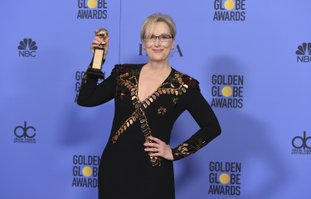 The Associated Press GOLDEN GLOBES: Meryl Streep poses in the press room with the Cecil B. DeMille award at the 74th annual Golden Globe Awards at the Beverly Hilton Hotel on Sunday, in Beverly Hills, Calif.