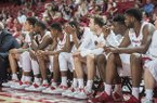 Arkansas players watch the final moments of an 84-78 loss to Mississippi State on Tuesday, Jan. 10, 2017, in Fayetteville.